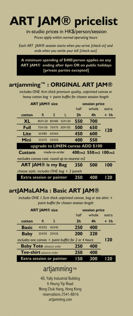 ART JAM® Pricelist